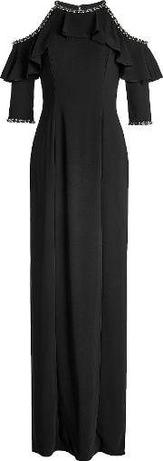 Floor Length Gown With Cut Out Shoulders And Embellishment
