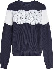 Wool Cotton Pullover With Perforated Panel