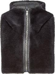 Shearling Hood With Leather