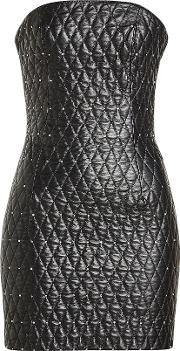 Quilted Leather Bandeau Dress With Crystal Embellishment