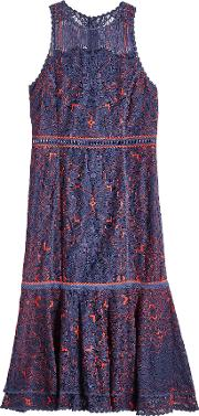 Two Tone Lace Dress With Cotton