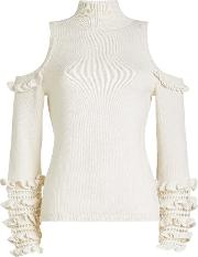 Wool Pullover With Cold Shoulders