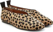 Leopard Print Calf Hair Loafers