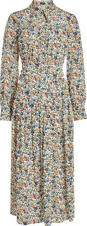 Printed Silk Dress With Pleats
