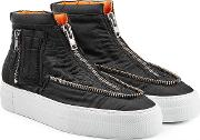 Fabric Sneakers With Zippers
