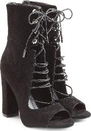 Kendall Kylie Suede Open Toe Ankle Boots