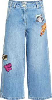 Cropped Wide Leg Jeans With Badges