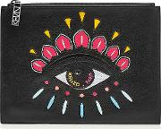 Embroidered Leather Clutch