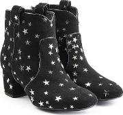 Suede Ankle Boots With Star Print