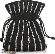 Nano Trilly Disco Stripes Embellished Satin Pouch