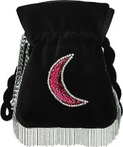 Trilly Disco Moon Embellished Velvet Pouch