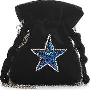 Trilly Disco Star Embellished Velvet Pouch