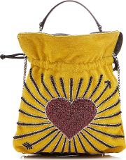 Trilly Hearts Embellished Suede Pouch