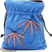 Trilly Palms Embellished Suede Pouch