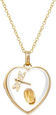 14kt Heart Locket With 18kt Charm, Diamonds And Citrine
