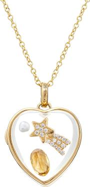 14kt Heart Locket With Citrine, Pearl And Diamonds