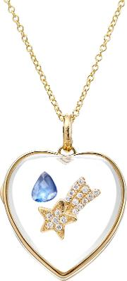 14kt Heart Locket With Sapphire And Diamonds