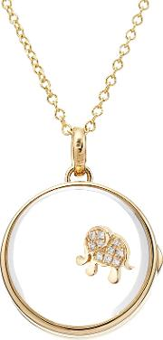 14kt Round Locket With 18kt Gold Charm And Diamonds