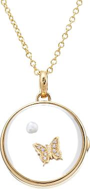 14kt Round Locket With 18kt Gold Charm, Pearl And Diamonds