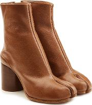 Leather Split Toe Ankle Boots