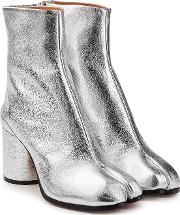 Metallic Leather Split Toe Ankle Boots