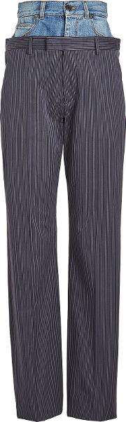Pinstriped Pants With Denim Waistband
