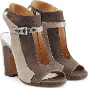 Suede Two Tone Open Toe Ankle Boots