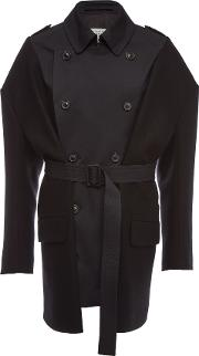 Trench Coat With Wool And Cotton