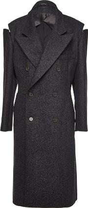 Wool Blend Coat With Zipped Shoulders