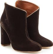 Eula Velvet Ankle Boots With Leather