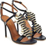 Leather Sandals With Metallic Ruffles