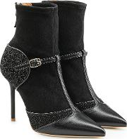 Sadie Suede And Leather Stiletto Ankle Boots