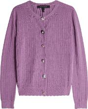Cardigan In Wool Silk With Embellished Buttons