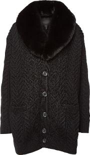 Wool Cardigan With Faux Fur