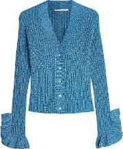Knit Cardigan With Metallic Thread And Ruffles