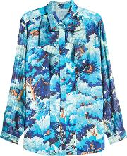 Printed Blouse With Silk Sleeves