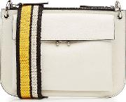 Leather Shoulder Bag With Fabric Strap