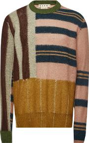 Patchwork Pullover With Wool And Mohair
