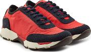 Sneakers With Fabric And Suede
