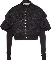 Cropped Jacquard Blazer With Puffed Shoulders
