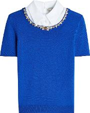 Embellished Wool Pullover With Collar
