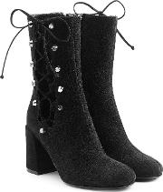 Suede Boots With Lace Up Sides