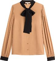 Bow Front Silk Blouse