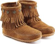 Concho Fringed Suede Ankle Boots With Studs