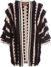 Fringed Cardigan With Wool