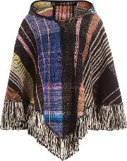 Hooded Wool Poncho With Alpaca, Mohair And Silk