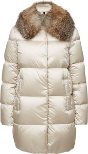 Loriot Quilted Down Coat With Fox Fur