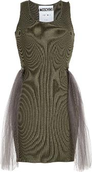 Ribbed Wool Dress With Tulle