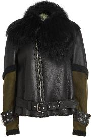 Leather, Suede And Shearling Biker Jacket