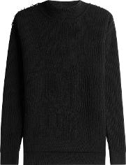Wool Pullover With Metallic Detail On Shoulders